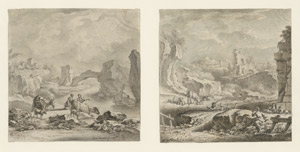 Lot 6732, Auction  112, Norwic, Georg, Flusslandschaft mit Hirtenpaar; Bergige Ruinenlandschaft mit Hirtenpaar
