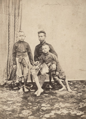 Lot 4071, Auction  113, Siam, Portrait of Chulalongkorn with two brothers; Wat Arun seen across the Chao Phraya