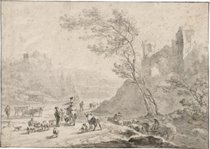 Lot 6656, Auction  113, Berchem, Nicolaes, Südliche Landschaft mit figürlicher Staffage