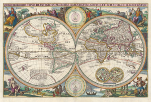 Lot 30, Auction  114, Weltkarte und Visscher, Nicolaes, Orbis terrarum typis de integro in plurimis emendatus