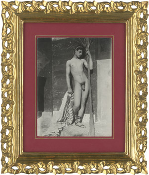 Lot 4023, Auction  115, Gloeden, Wilhelm von, Young male nude on terrace with cloth and palm leaf
