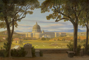 Lot 6078, Auction  115, Ahlborn, August Wilhelm Julius, Blick von der Villa Doria Pamphili auf den Petersdom in Rom