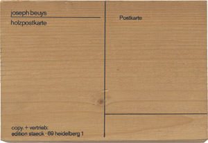 Lot 7017, Auction  115, Beuys, Joseph, Holzpostkarte