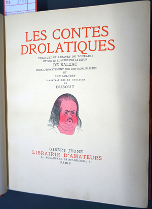 Lot 3106, Auction  116, Balzac, Honore de und Dubout - Illustr., Les contes drollatiques