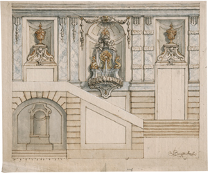 Lot 6678, Auction  116, Bergmüller, Johann Georg, Barocke Fassadenarchitektur mit Brunnen