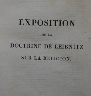 Lot 2088, Auction  117, Eymery, Jacques André und Leibniz, Gottfried Wilhelm, Exposition de la doctrine de Leibnitz sur la religion